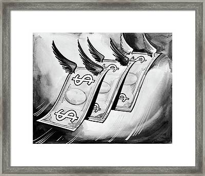 1930s Fake Money With Wings Flying Away Framed Print