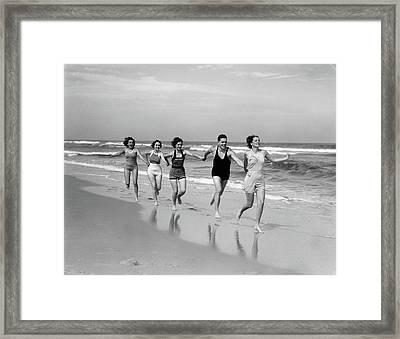 1930s Four Women And One Man Running Framed Print