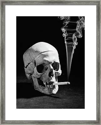 1930s Human Skull Smoking A Cigarette Framed Print