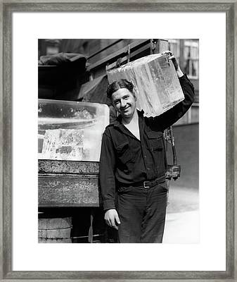 1930s Ice Delivery Man Carrying Large Framed Print