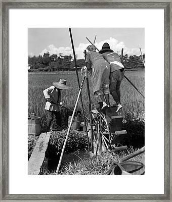 1930s Irrigating Rice Field Near Osaka Framed Print