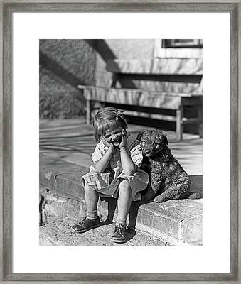 1930s Little Girl Sitting On Porch Framed Print