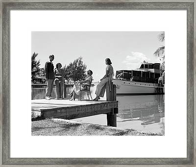 1930s Man And Three Women Standing Framed Print