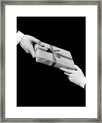 1930s Man And Woman Hands Exchanging Framed Print
