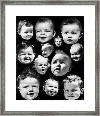 1930s Montage Of Baby Heads Framed Print