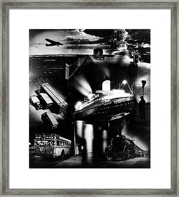 1930s Montage Of Transportation Images Framed Print