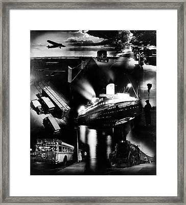 1930s Montage Of Transportation Images Framed Print