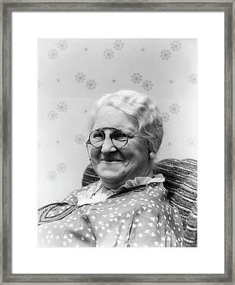1930s Portrait Of Elderly White Hair Framed Print
