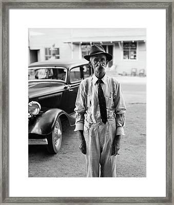 1930s Portrait Of Old Man Wearing Hat Framed Print