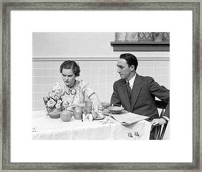 1930s Quarreling Couple At A Table Set Framed Print