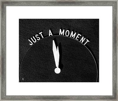 1930s Sign Just A Moment With Clock Framed Print