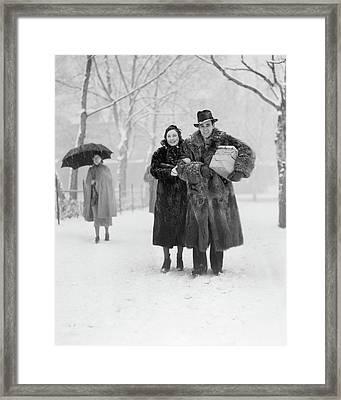 1930s Smiling Christmas Shopping Couple Framed Print