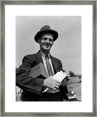 1930s Smiling Man In Hat Suit And Tie Framed Print