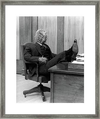 1930s Straw Man In Suit & Tie Seated Framed Print