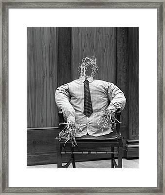 1930s Symbolic Straw Man In Shirt Framed Print