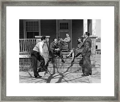 1930s Three Men Courting A Women Framed Print