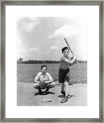 1930s Two Boys Batter And Catcher Framed Print