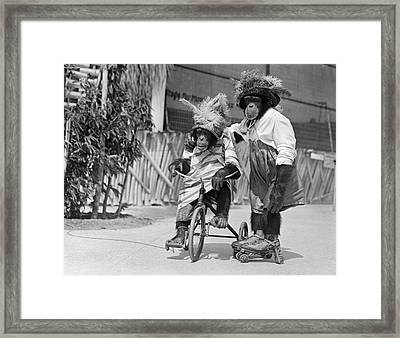 1930s Two Chimpanzees Wearing Straw & Framed Print