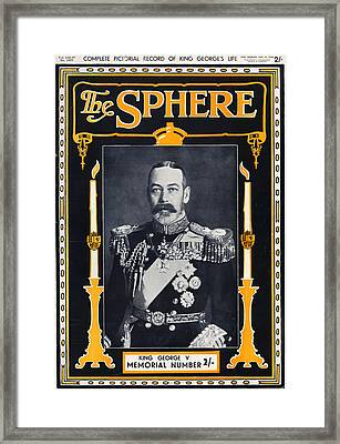 1930s Uk The Sphere Magazine Cover Framed Print