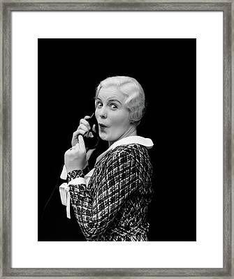1930s Woman Talking On Telephone Framed Print