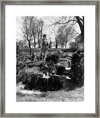 1930s Woman Walking 4 Dalmatian Dogs Framed Print