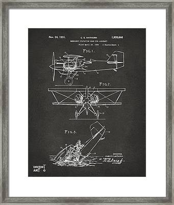 1931 Aircraft Emergency Floatation Patent Gray Framed Print by Nikki Marie Smith