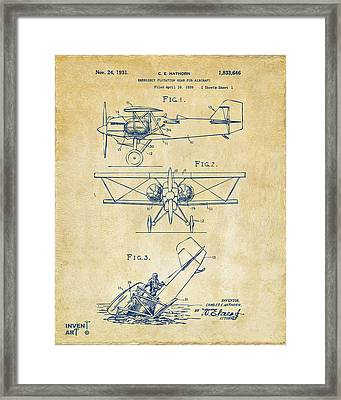1931 Aircraft Emergency Floatation Patent Vintage Framed Print by Nikki Marie Smith