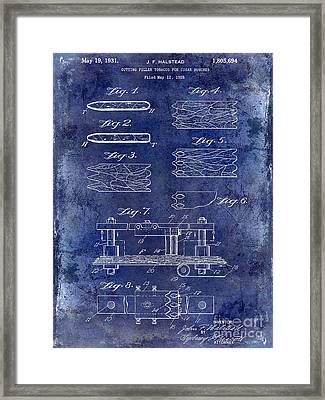 1931 Cigar Filler Patent Drawing Blue Framed Print