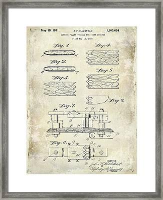 1931 Cigar Filler Patent Drawing  Framed Print