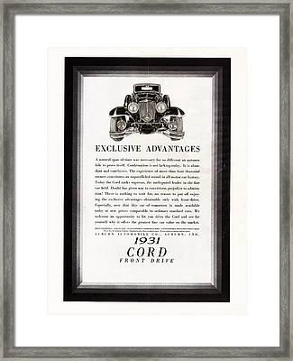 1931 Cord Cabriolet L 29 Vintage Ad Framed Print by Jack Pumphrey