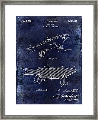 1931 Fish Bait Patent Drawing  Blue Framed Print