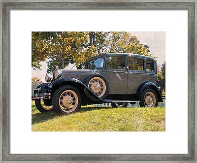 1931 Ford Sedan On Hill At Greenfield Village In Dearborn Michigan Framed Print by Design Turnpike