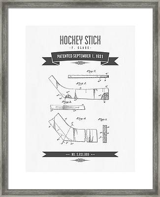 1931 Hockey Stick Patent Drawing - Retro Gray Framed Print by Aged Pixel