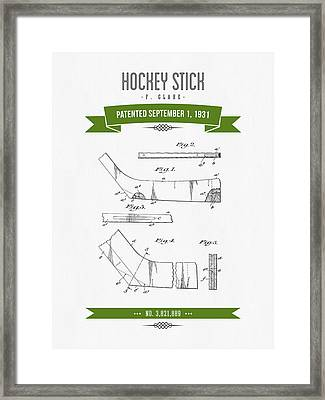 1931 Hockey Stick Patent Drawing - Retro Green Framed Print by Aged Pixel