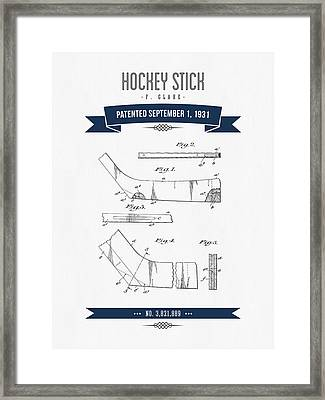 1931 Hockey Stick Patent Drawing - Retro Navy Blue Framed Print by Aged Pixel