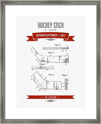 1931 Hockey Stick Patent Drawing - Retro Red Framed Print by Aged Pixel