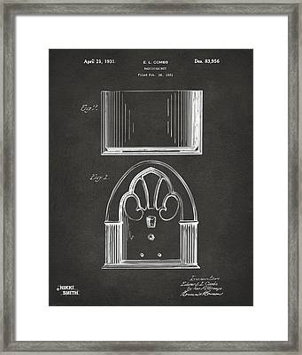 1931 Philco Radio Cabinet Patent Artwork - Gray Framed Print