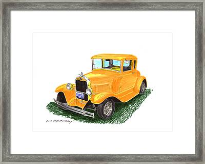 1931 Yellow Ford Coupe Framed Print by Jack Pumphrey