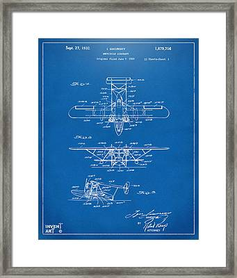 1932 Amphibian Aircraft Patent Blueprint Framed Print by Nikki Marie Smith