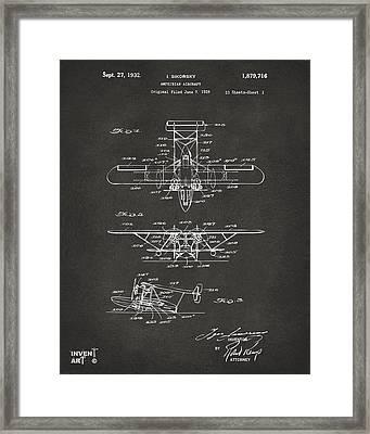 1932 Amphibian Aircraft Patent Gray Framed Print by Nikki Marie Smith