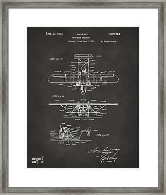1932 Amphibian Aircraft Patent Gray Framed Print