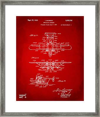1932 Amphibian Aircraft Patent Red Framed Print by Nikki Marie Smith