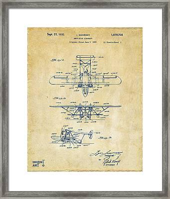 1932 Amphibian Aircraft Patent Vintage Framed Print