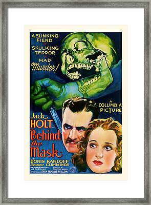 1932 Behind The Mask Vintage Movie Art Framed Print by Presented By American Classic Art
