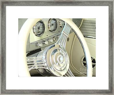 1932 Cabriolet Hupmobile Steering Framed Print by Margaret Newcomb