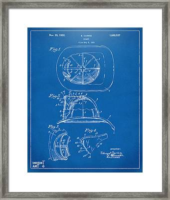1932 Fireman Helmet Artwork Blueprint Framed Print by Nikki Marie Smith