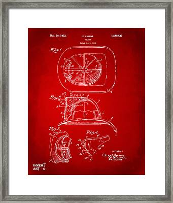 1932 Fireman Helmet Artwork Red Framed Print by Nikki Marie Smith