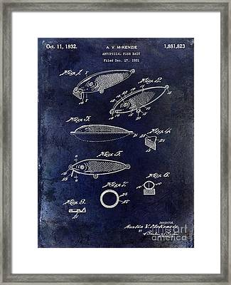 1932 Fishing Patent Drawing Blue Framed Print