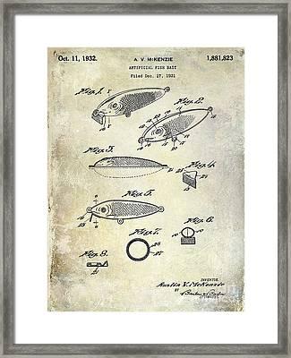 1932 Fishing Patent Drawing  Framed Print