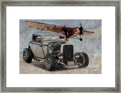 1932 Ford Coupe And Ford Trimotor Plane Framed Print